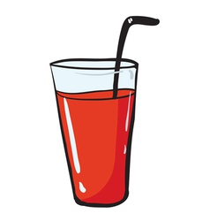 a glass and a straw vector image vector image