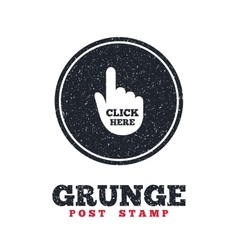 Click here hand sign icon Press button vector image vector image
