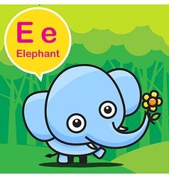 E Elephant color cartoon and alphabet for children vector image