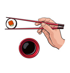eating sushi - human hand with chopsticks and soy vector image vector image