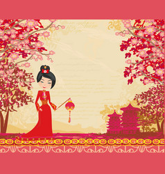 Geisha and chinese lanterns vector