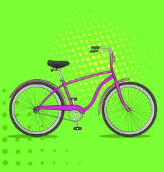 pop art bike the vehicle is pink comic book vector image