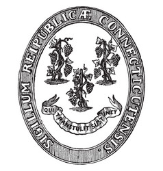the state seal of connecticut vintage vector image