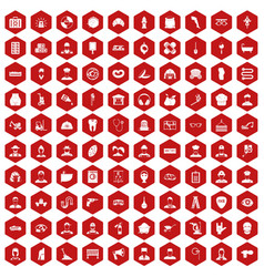 100 different professions icons hexagon red vector