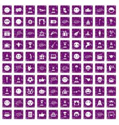 100 emotion icons set grunge purple vector image