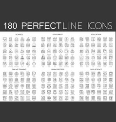180 outline mini concept icons symbols of school vector