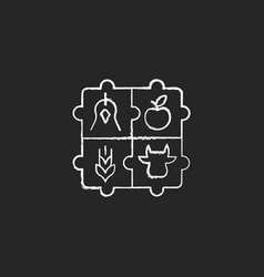 Agricultural cooperative chalk white icon on dark vector