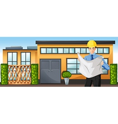 An engineer in front of a building vector image