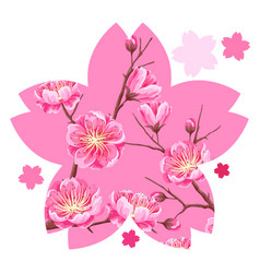 Background with sakura or cherry blossom floral vector