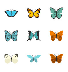 beautiful butterfly icons set flat style vector image