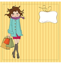 beautiful young woman at shopping vector image