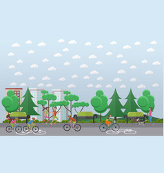 bike path in park concept vector image