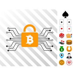 bitcoin lock circuit icon with bonus vector image