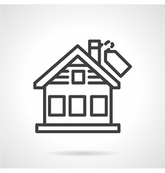 Black line house icon vector