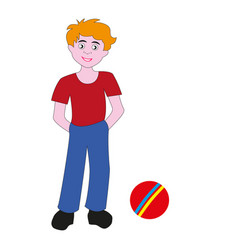 boy teenager with a rubber ball vector image