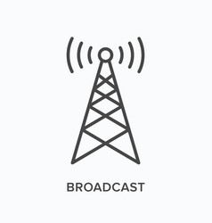 Broadcast flat line icon outline vector