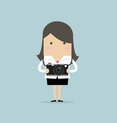 businesswoman holding a camera vector image