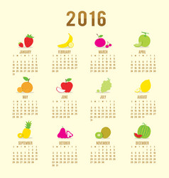 calendar 2016 fruit cute cartoon vector image