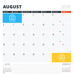 Calendar planner for august 2018 print design vector