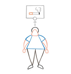 cartoon man standing and thinking smoking vector image