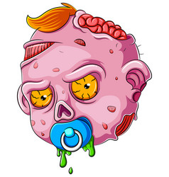 Cartoon scary baby zombie face on white background vector