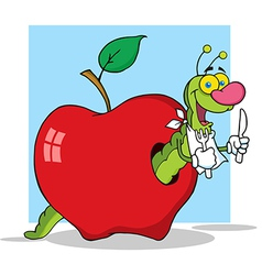 Cartoon Worm In Apple With Background vector image