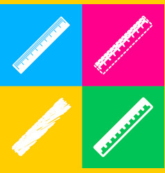 centimeter ruler sign four styles of icon on four vector image
