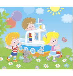 children playing on a toy ship on a playground vector image