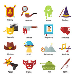 cinema genre icons set cinematography flat vector image