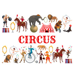 circus animals clowns and acrobatic equilibrists vector image