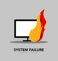 Computer screen on fire icon system failure vector