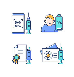 Covid19 vaccine quality rgb color icons set vector