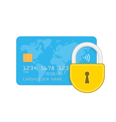 credit card and lock vector image