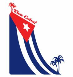 cuba flag and palm vector image