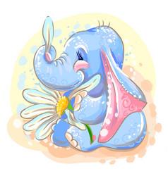 Cute baby elephant with a flower vector
