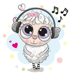 cute cartoon sheep with headphones vector image