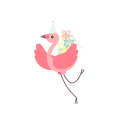 cute flamingo wearing party hat flying with gift vector image