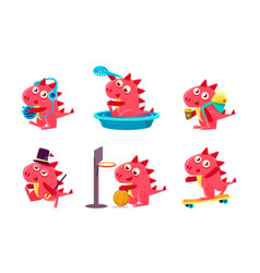 Cute funny dragon character set funny fantastic vector