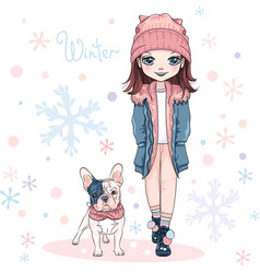 Cute girl with dog vector