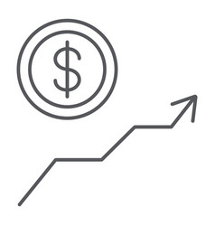 dollar growth thin line icon financial and graph vector image