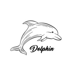 Dolphin black and white vector