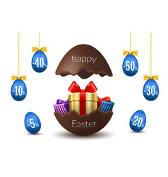 easter eggs sale broken happy easter chocolate vector image