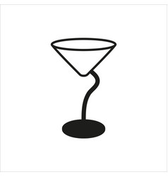 Empty transparent martini glass cup icon vector