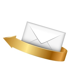 envelope and gold arrow vector image
