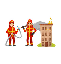 Firefighters in uniform with tools vector
