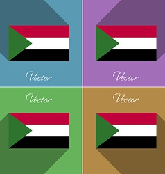 Flags Sudan Set of colors flat design and long vector image