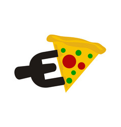 Fork pizza letter e vector