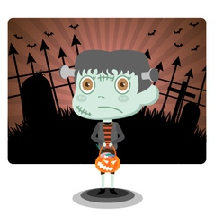 Frankenstein with Halloween vector image