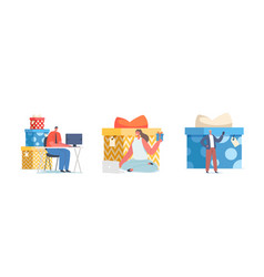 Gift for subscription tiny characters get vector