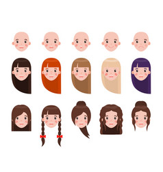 Girl head with hairstyles and emotional faces set vector
